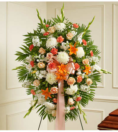 Peach, Orange and White Standing Spray