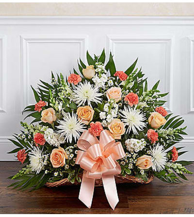 Thoughts and Prayers™ Peach, Orange & White Fireside Basket
