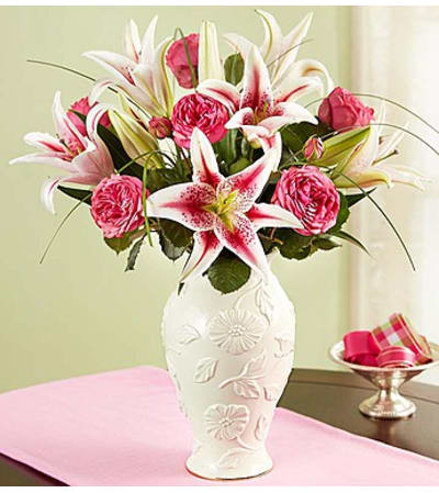 Garden Rose and Lily Bouquet in Lenox®