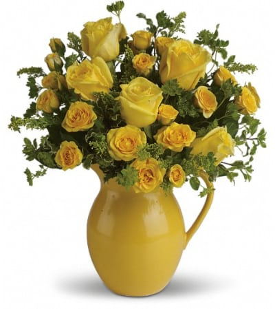 Teleflora's Sunny Day Pitcher of Roses