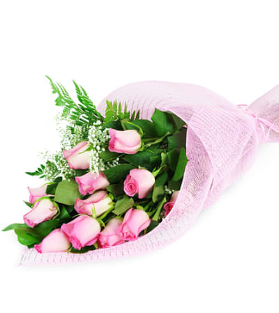 Perfect Wrapped Long Stemmed Pink Roses