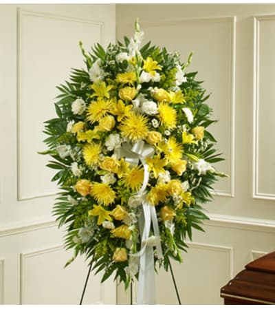 Yellow and White Sympathy Standing Spray