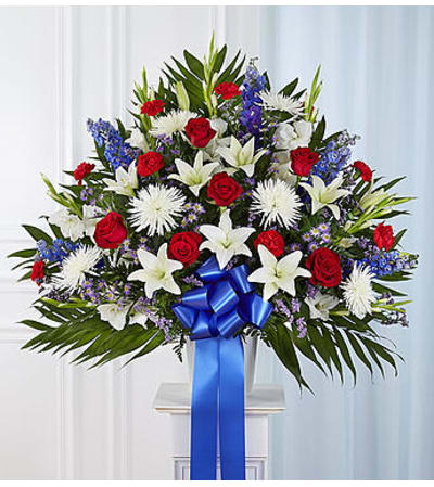 Heartfelt Sympathies™ Red, White, & Blue Standing Basket
