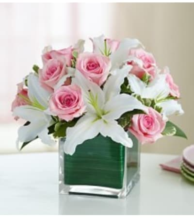 Modern Embrace - Pink Rose and Lily Cube