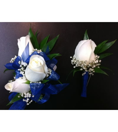 Standard White Rose Corsage Set