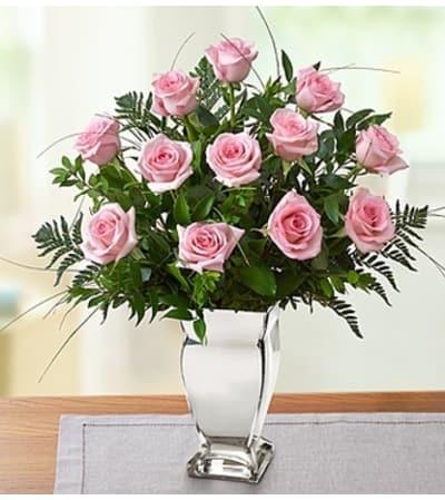 Premium Pink Roses in Silver Vase