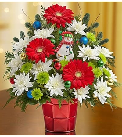 Christmas Greetings™ in a Red Vase