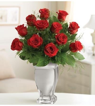 12 Red Premium Long Stem Roses in Silver Vase