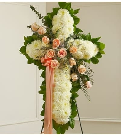 White Cross with Peach Rose Break