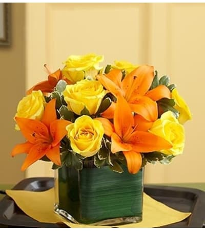 Modern Embrace™ Fall Rose and Lily Cube