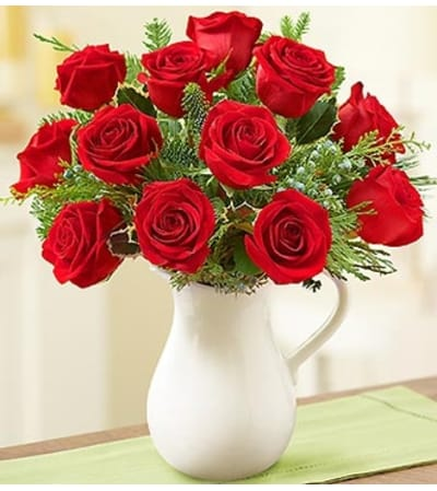 Holiday Pitcher Full of Roses