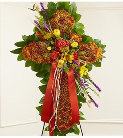 Mixed Flowers Standing Cross in Fall Colors