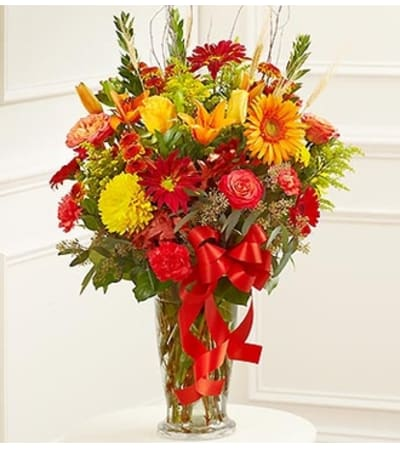Large Sympathy Vase Arrangement in Fall Color