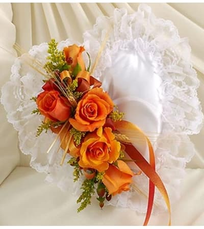 Satin Heart Casket Pillow in Fall Colors