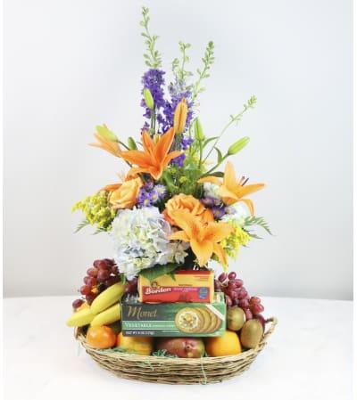 Fresh Fruit with Flowers Basket