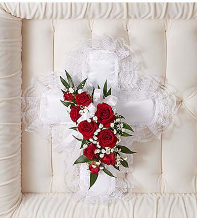 Red & White Satin Cross Casket Pillow