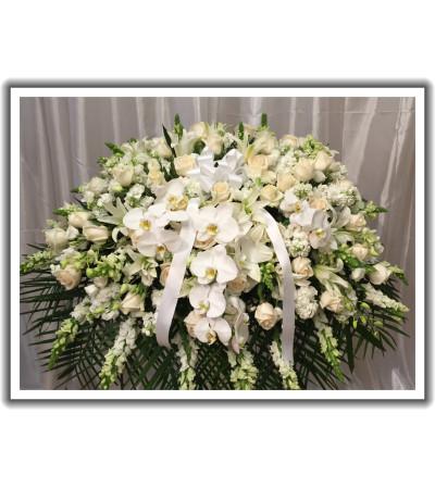 all white casket
