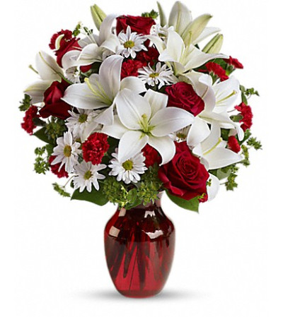 Rose and Lily Assortment With Red Vase
