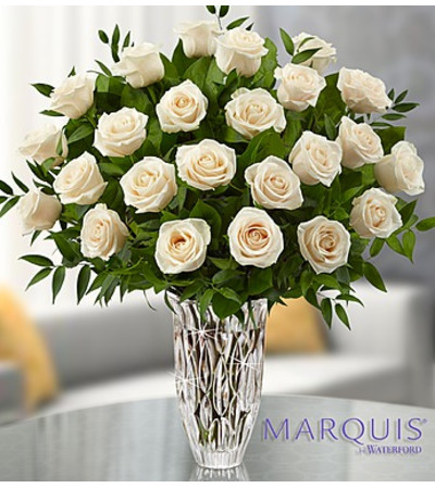 Two Dozen White Roses in Marquis by Waterford® Vase