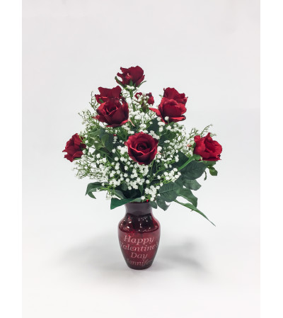 DOZEN RED ROSES WITH PERSONALIZED VASE