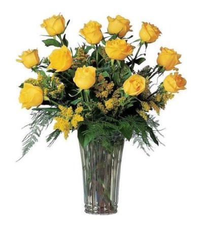 1 Dozen Beautiful Yellow Roses Long Stemmed in Vase
