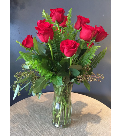 Classic Dz. Red Long Stem Roses With Greens