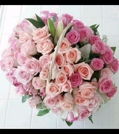 Beautiful Pink Rose Basket