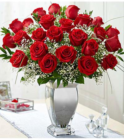 Long Stem Red Roses in Silver Vase