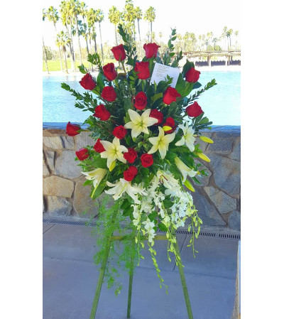 lilies and Roses Tribute Spray