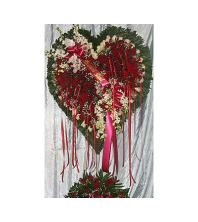 Bleeding Heart Red Roses with White Lillies [GF-H6] $400.00