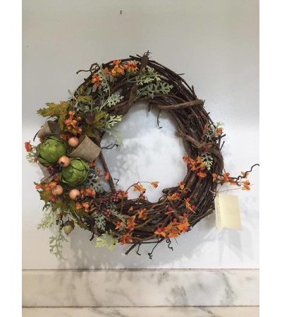 Fall Wreath with Burlap Bow