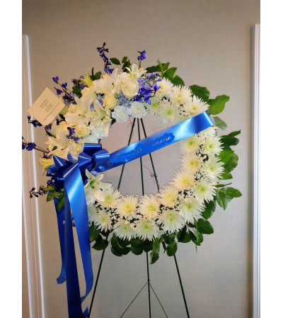 White and Blue Wreath