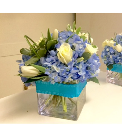 Blue Hydrangea and Roses