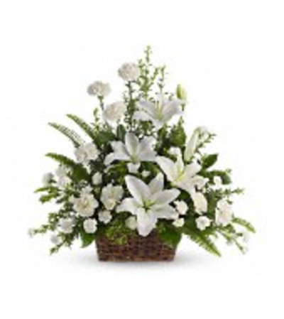 Peaceful White Lilies Basket - by Jennifer's Flowers & Gifts