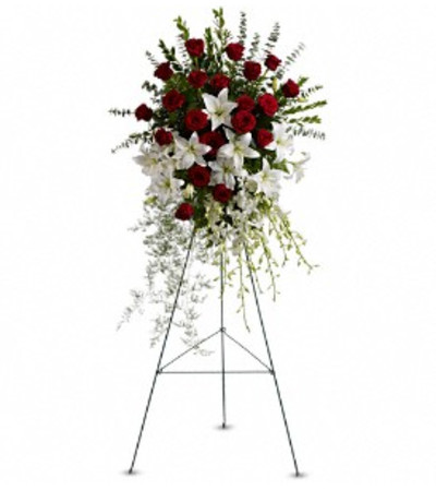 Lily and Rose Tribute Spray - by Jennifer's Flowers