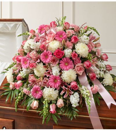 Pink and White Casket Spray