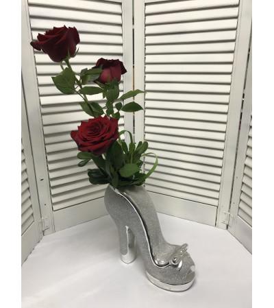 Glitter Shoe Bouquet W/ Red Roses