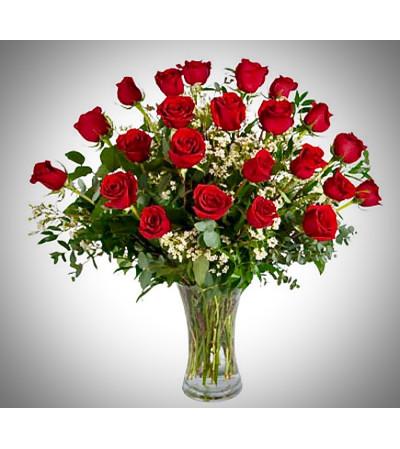 Two Dozen Red Roses Vased