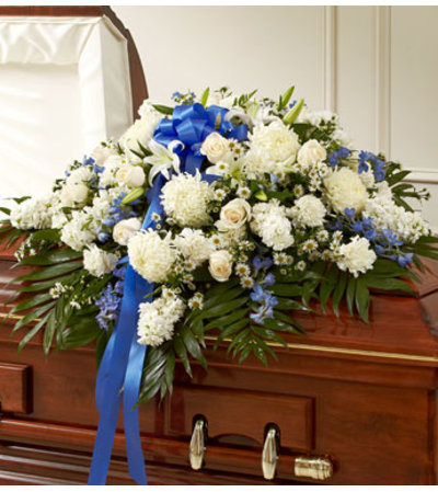 Mixed Half Casket Cover White & Blue