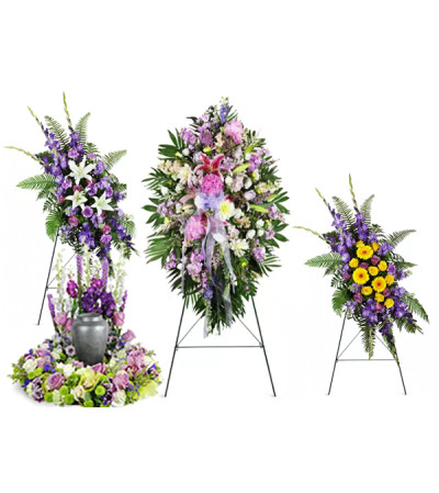 Purple and white funeral package