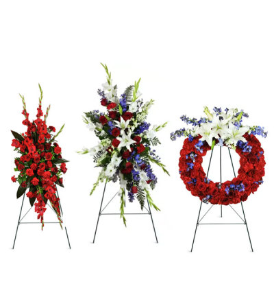 Red, Blue, and white funeral package