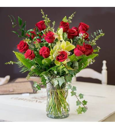 Red Roses and Cymbid Orchids