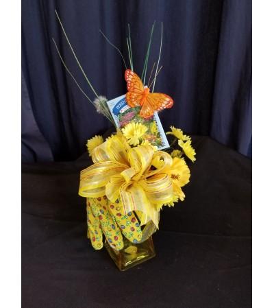 Garden Basket Yellow Glove Vase