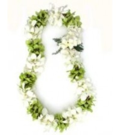 double white and green dendro orchid lei