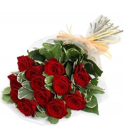 Wrapped Red Roses
