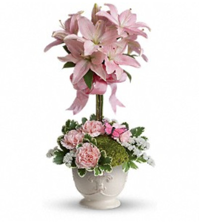 Blushing Lilies Topiary