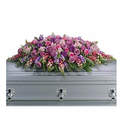 lavender casket spray