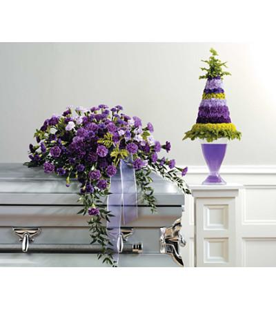 Purple Monochromatic Casket Spray