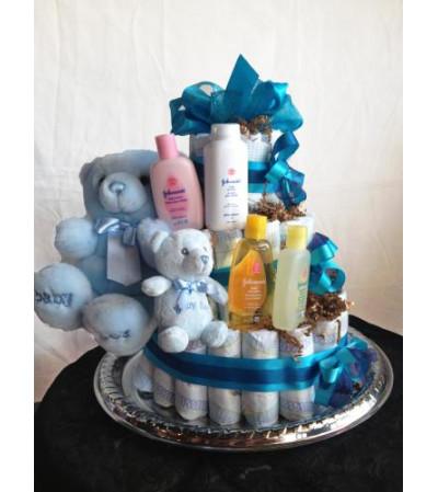 Handsome in Blue Diaper Cake