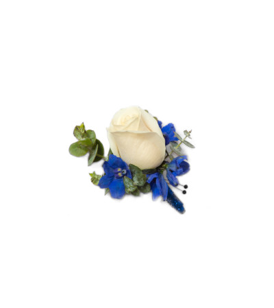 White & Blue Boutonniere